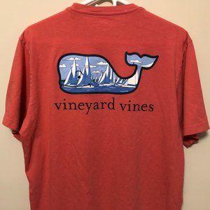 Vineyard Vines Medium Coral Whale Sailboat TShirt
